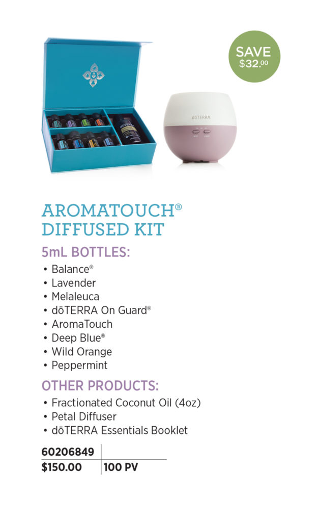 doTERRA AromaTouch Diffused Kit Enroll with this kit to experience a variety of essential oils that can also be used for the AromaTouch Technique.