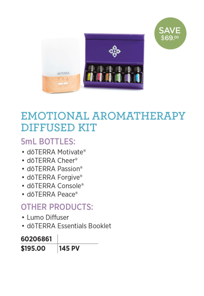doTERRA Emotional Aromatherapy Diffused Kit - The Emotional Aromatherapy Diffused Enrollment Kit includes the perfect combination of materials to experience the uplifting and emotion boosting benefits of the aromatherapy system. Lumo Diffuser doTERRA Emotional Aromatherapy™ System: (5 mL Bottles) doTERRA Motivate® doTERRA Cheer® doTERRA Passion® doTERRA Forgive® doTERRA Console® doTERRA Peace® The doTERRA Essentials Booklet