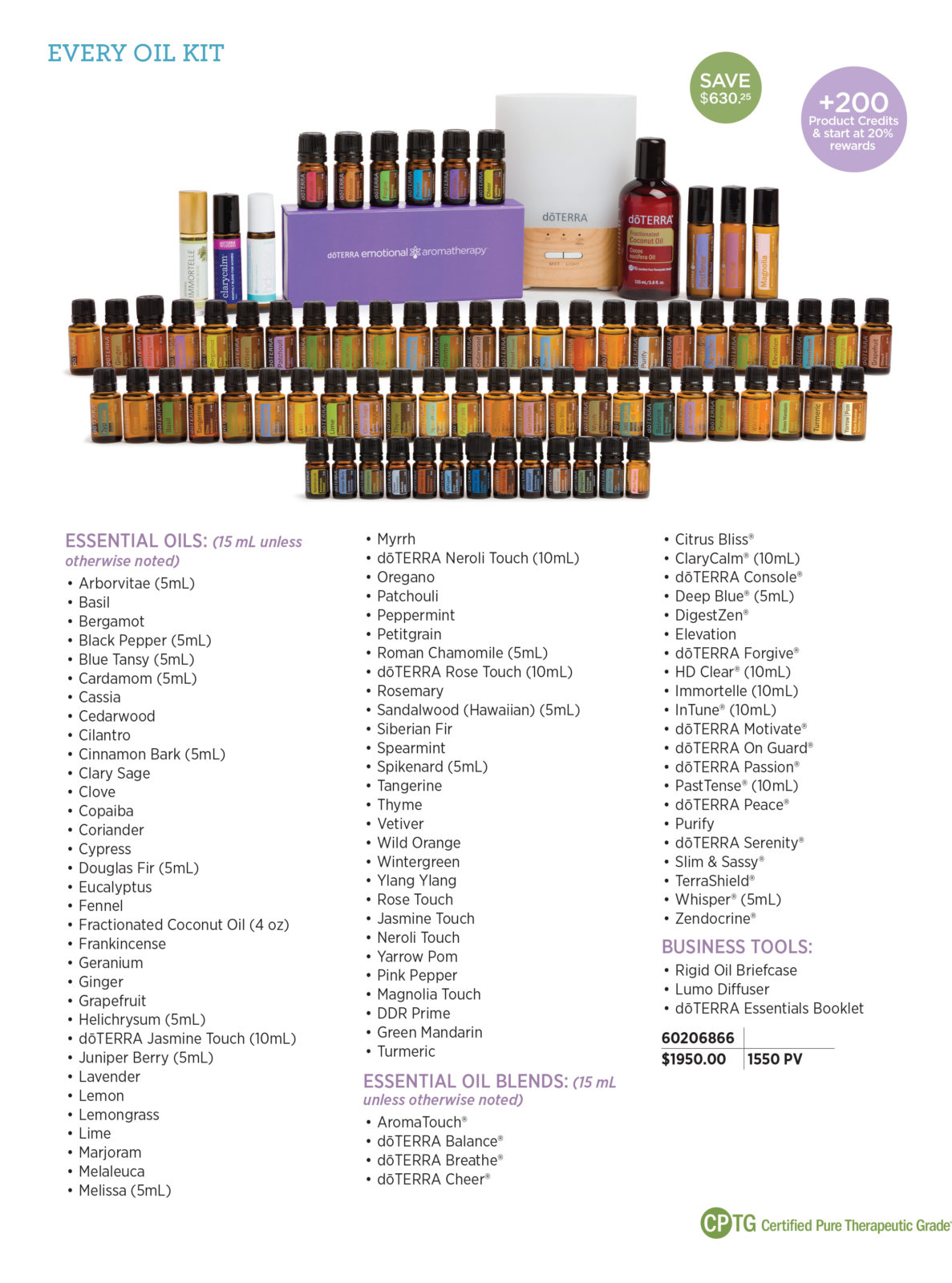 doTERRA Every Oil Kit - With the Every Oil Enrollment Kit, you are given complete access to build your oil knowledge and personally experience the effects of the abundant benefits of doTERRA essential oils. New Wellness Advocates and Wholesale Customers who enroll with an Every Oil Kit (1550 PV) and have a 100 PV Loyalty Rewards order the following month* will receive 200 loyalty points, and start loyalty point accrual at 20 percent.