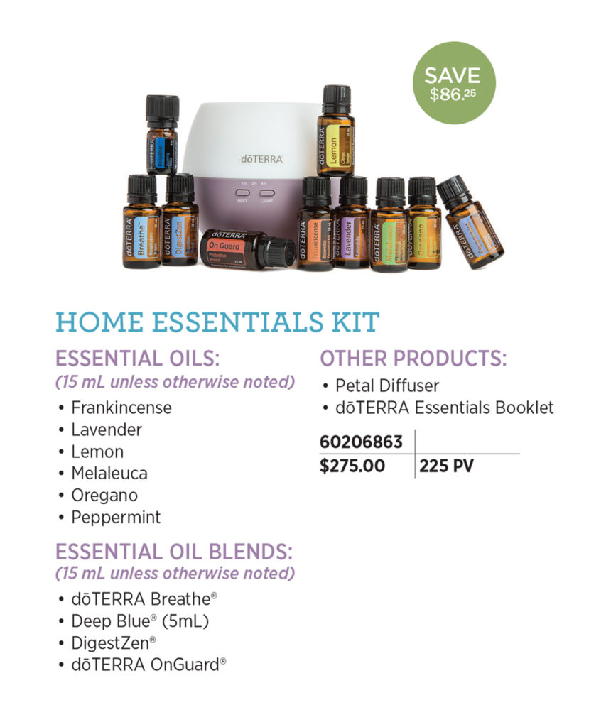 doTERRA Home Essentials Kit - Includes Essential Oils: Frankincense, Lavender, Lemon, Melaleuca, Oregano, Peppermint, doTERRA Breathe, DigestZen, doTERRA On Guard, Deep Blue(5 mL) Other Products: Petal Diffuser, doTERRA Essentials Booklet