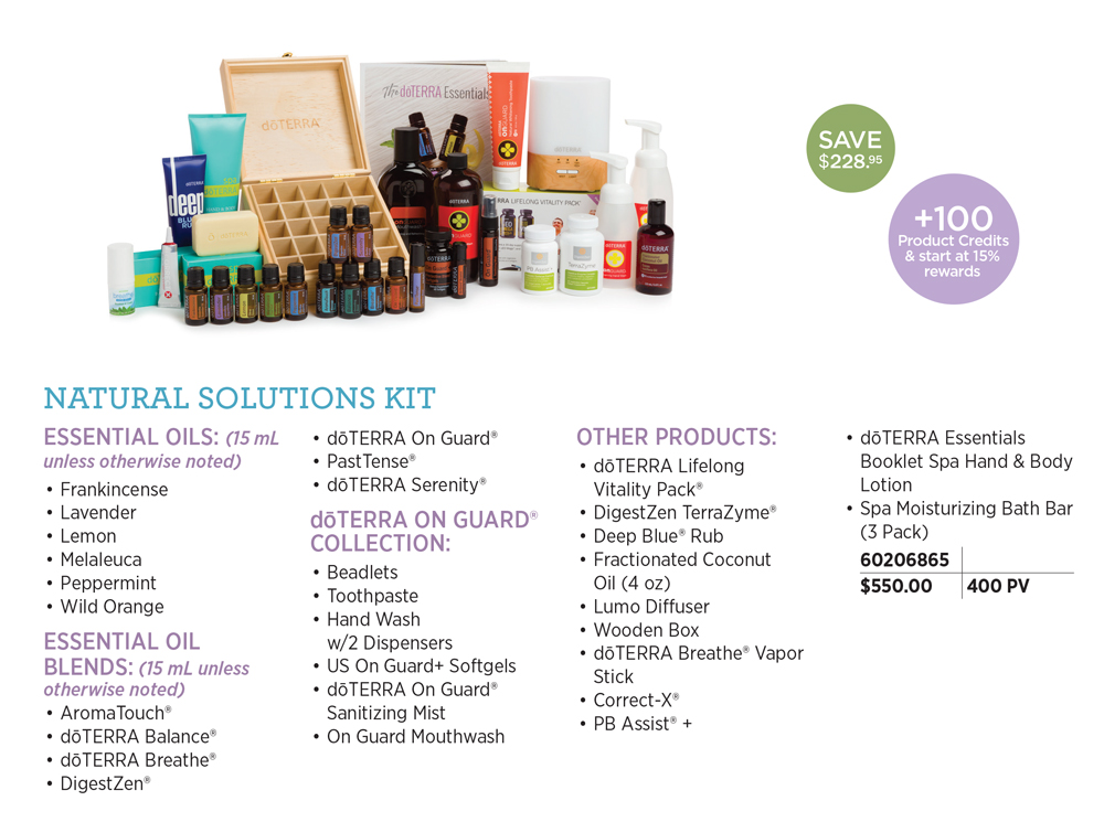 doTERRA Natural Solutions Kit - Experience the power of doTERRA essential oils and products through the Natural Solutions Enrollment Kit. This kit is a perfect companion to assist with healthy living goals and to help boost vitality. New Wellness Advocates and Wholesale Customers who enroll with a Natural Solutions Kit (400 PV) and have a 100 PV Loyalty Rewards order the following month* will receive 100 loyalty points and start loyalty point accrual at 15 percent.