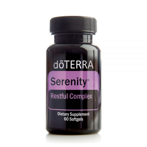 doTERRA Serenity Restful Complex Softgels doTERRA Serenity Restful Complex is a unique combination of Lavender essential oil and natural plant extracts in a vegetarian softgel to help you get the refreshing sleep you need without leaving you feeling groggy and sleepy the next day. doTERRA Serenity Restful Complex combines the well-researched, relaxing benefits of Lavender essential oil and L-Theanine along with lemon balm, passionflower, and chamomile to gently promote relaxation and sleep.