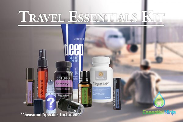 The Travel Essentials Kit offered exclusively from Essential Ninja includes 7 must-have doTERRA products for the active traveler, any seasonal specials, as well as a few more items from Essential Ninja.
