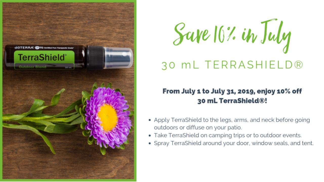 Save 10% in July 2019 on doTERRA's 30mL TerraShield Spray