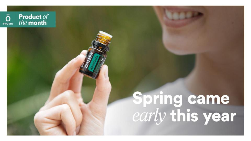 doTERRA Product of the Month for February 2020: Ravintsara 5 mL - Cleanses the environment and freshens the air - Has powerful cleansing properties, making it ideal for use as a surface cleanser - Soothes and relaxes the body when applied topically, particularly with massages When you place a 125 PV LRP order on or before February 15, a 5 mL bottle of Ravintsara will automatically be added to your order.